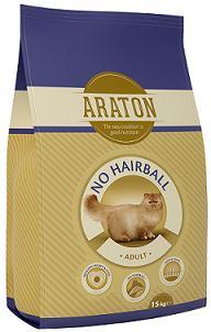 ARATON cat adult no hairball 15kg pašaras suaugusioms katėms su vištiena sąvėlom mažinti žarnyne