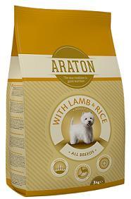 ARATON dog adult lamb&rice 3kg pašaras suaugusiems šunims su ėriena ir ryžiais